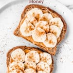 peanut butter banana toasts with text overlay