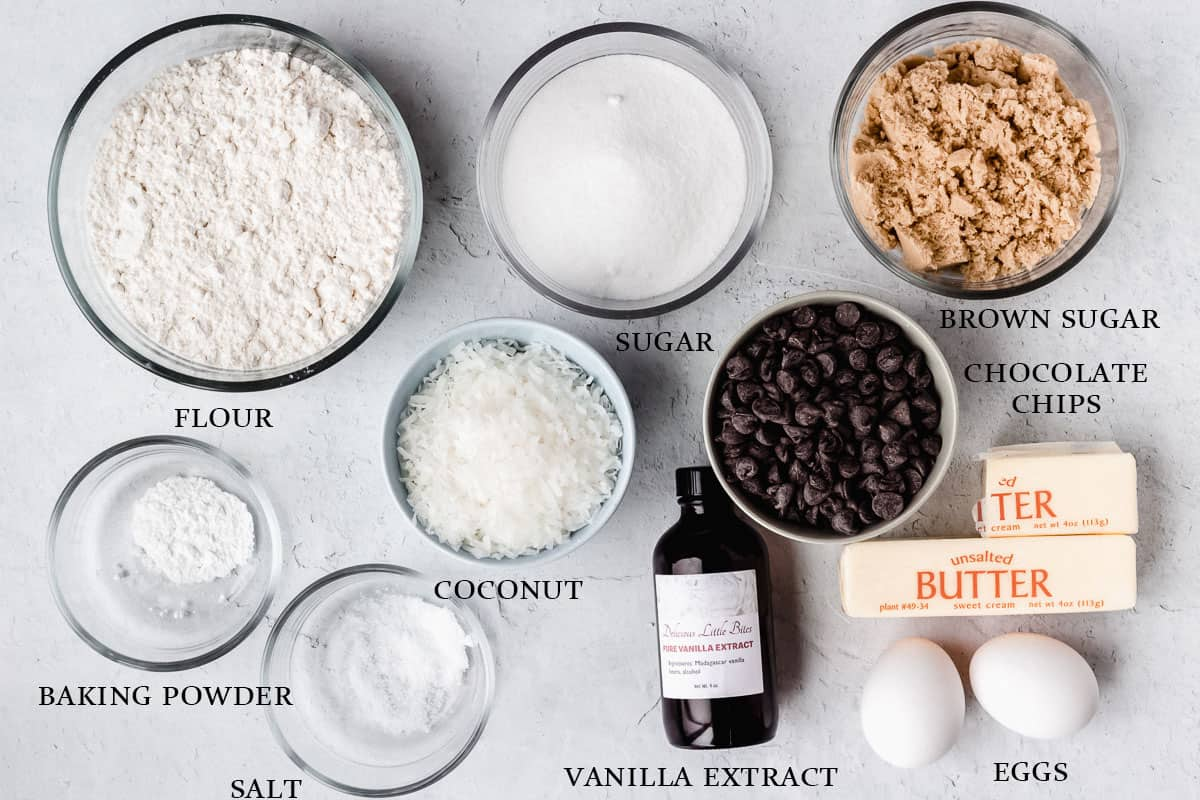 Ingredients to make coconut chocolate chip cookies on a white background with labels