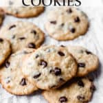 Coconut chocolate chip cookies with text overlay