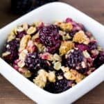 Blackberry Crisp in a White Dish