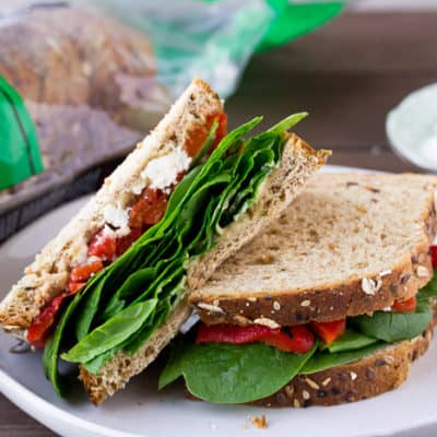 Roasted Red Pepper Spinach Sandwich (on Dave's Killer Bread)