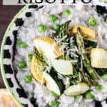 close up of spring vegetable risotto with text overlay
