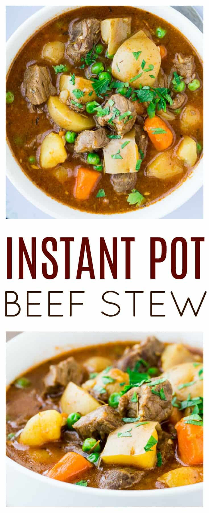 This quick and easy Instant Pot Homemade Beef Stew tastes just like it's been cooking low and slow all day! This main dish recipe uses all real ingredients. Nothing is processed. There are no soup mixes. It's truly a homemade, whole foods kind of soup recipe! #dlbrecipes #beefstew #instantpot #instantpotrecipe #soup