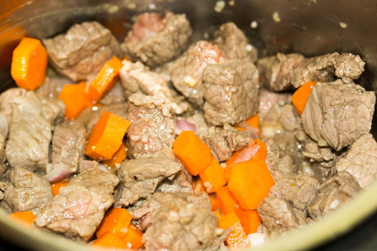 Beef cubes and Carrots Cooking in an Instant Pot