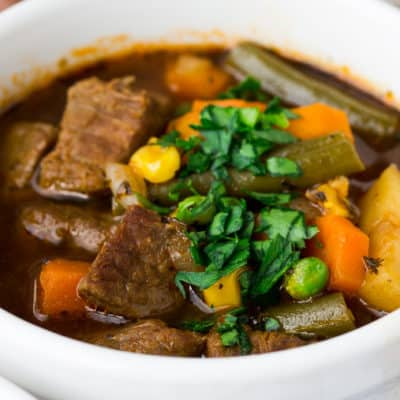 A Single Bowl of Vegetable Beef Soup