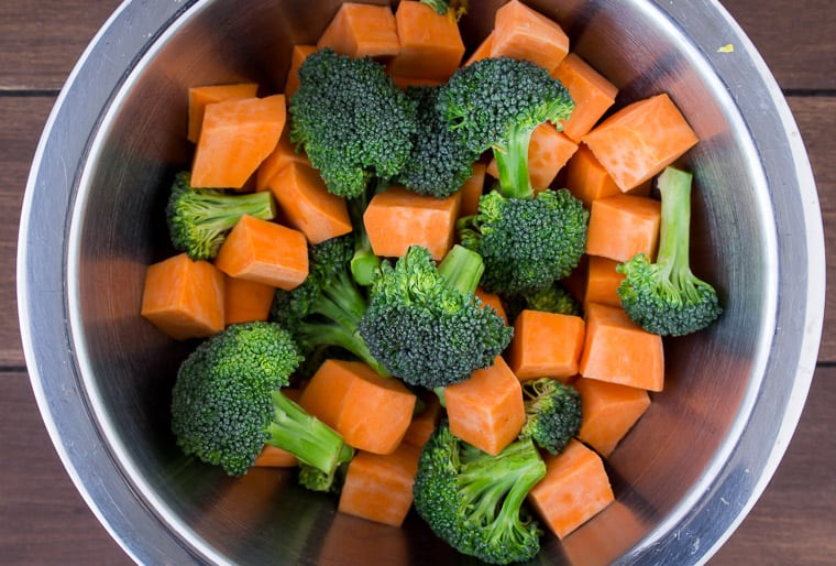 Sweet Potato cubed and broccoli florets in a silver bowl