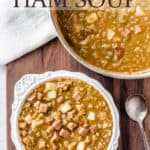 A bowl and pot of split pea soup with text overlay