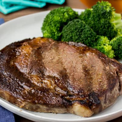 Fareway Ribeye Steak on a White Plate with Broccoli