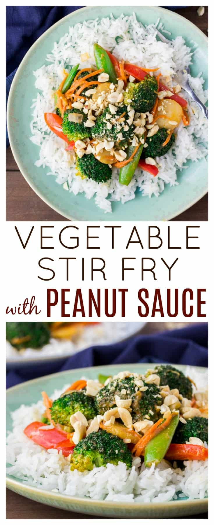 Vegetable Stir Fry with Peanut Sauce is an easy main dish recipe! This vegetarian dish can easily be modified to suit your own tastes. Switch out veggies for whichever ones you prefer and have dinner on the table in less than 30 minutes! | #dlbrecipes #30minutemeals #vegetablestirfry #vegetarian