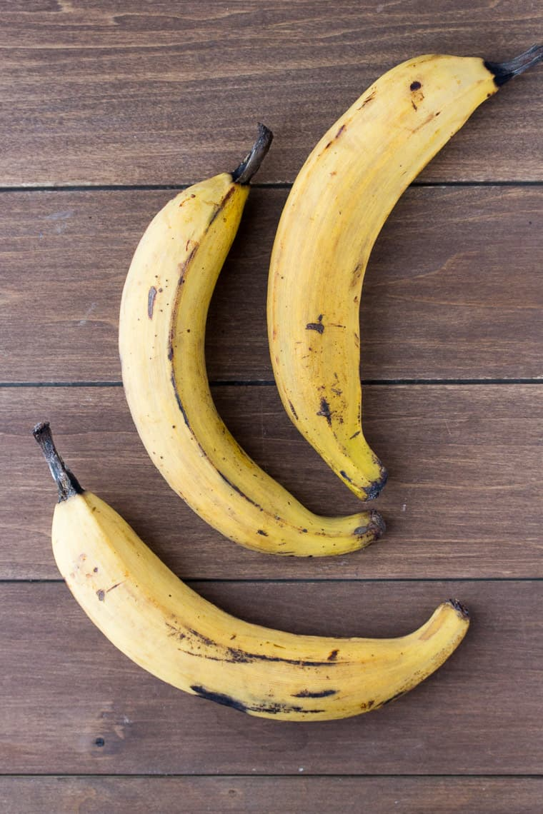 3 Plantains on a Wood Backdrop