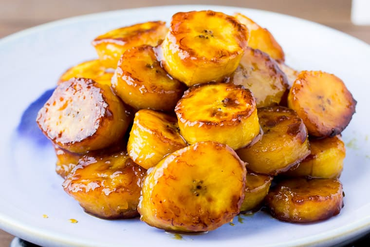 Sweet Fried Plantains Piled High on a Blue Plate