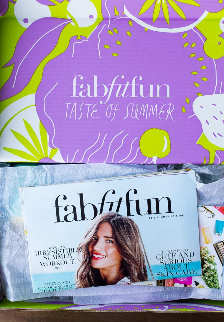 Opened Summer 2018 FabFitFun Box with the Magazine on Top