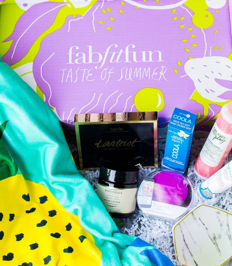 All of the Contents of the Summer 2018 FabFitFun Box on Display Inside the Box