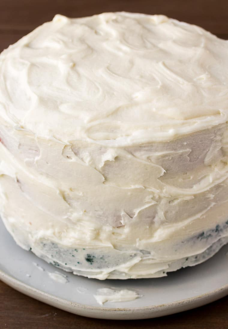 Cake with Top and Sides Covered in Vanilla Icing