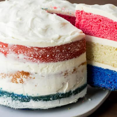 Red, White, and Blue Cake with Semi-Naked Icing