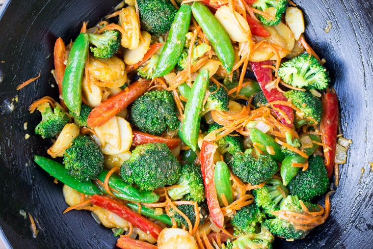 Mixed Vegetables with Peanut Sauce Mixed In