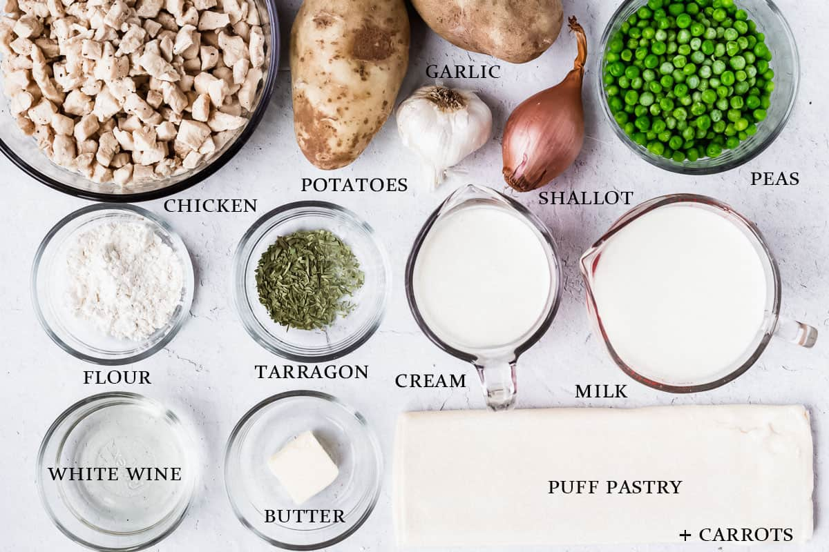Ingredients needed to make chicken pot pie labelled on a white background