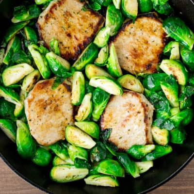 Pork Chops and Brussels Sprouts in a Cast Iron Skillet