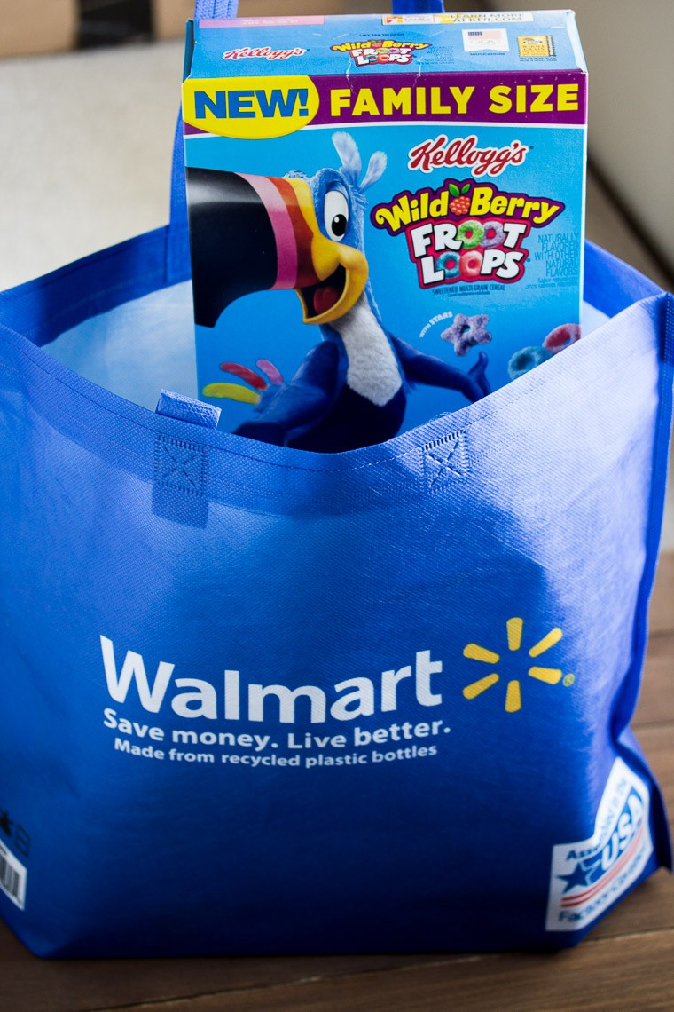 Wild Berry Froot Loops in a Walmart Shopping Bag