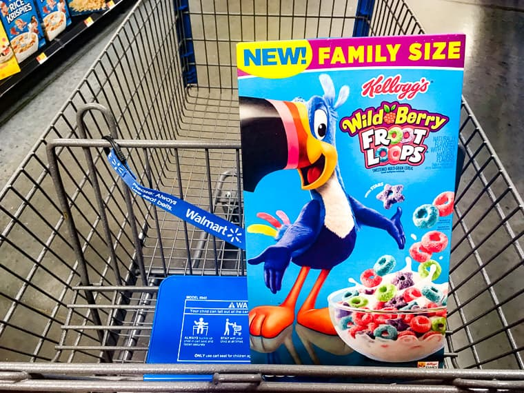 Wild Berry Fruit Loops in a Walmart Shopping Cart