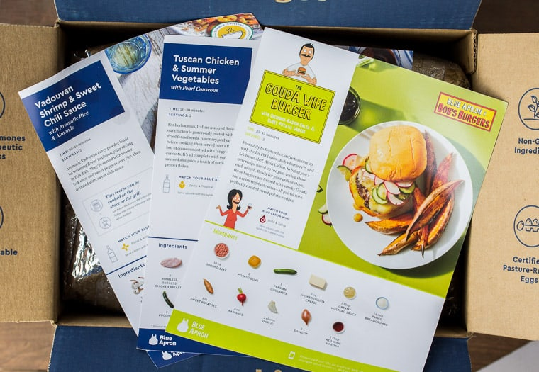 Blue Apron Packaging with 3 Recipe Cards on Top