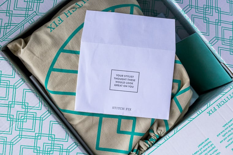 Personal Note from Stitch Fix Stylist on the Box Of Items She Sent