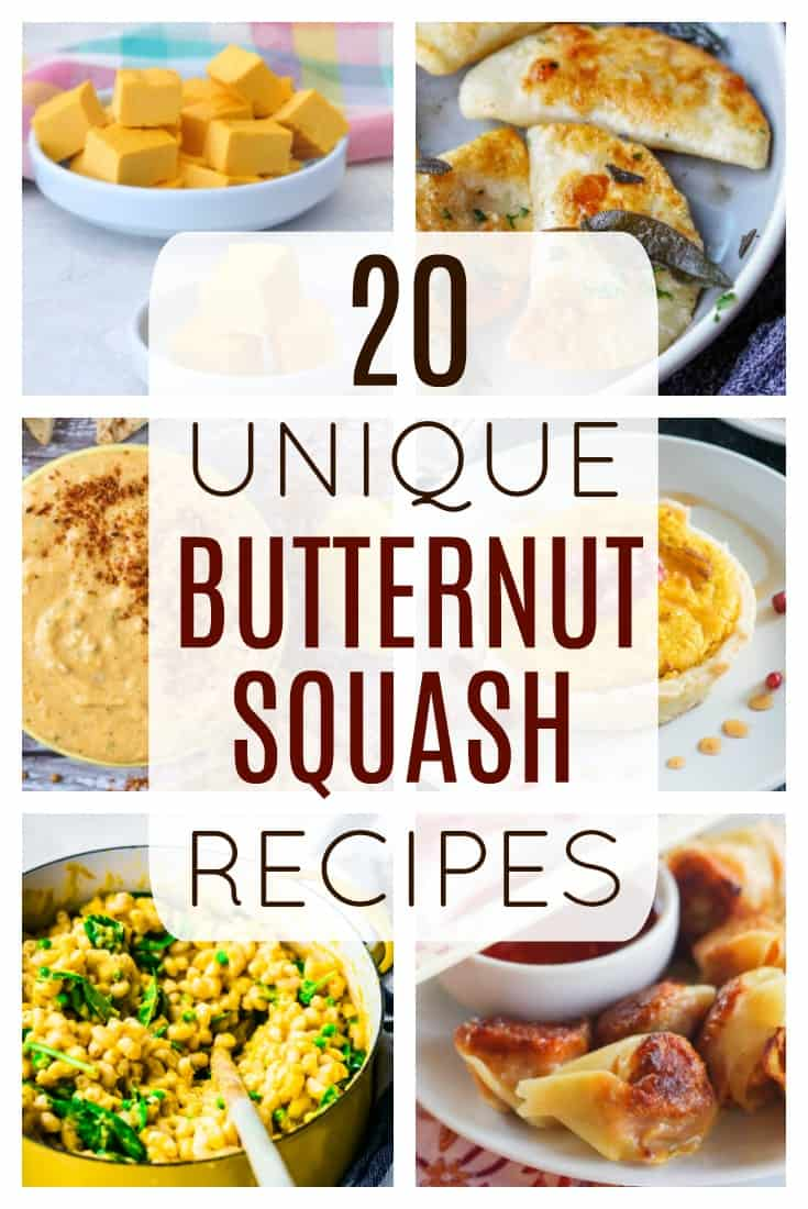 20 Unique Butternut Squash Recipes - a roundup of 20 delicious butternut squash recipes that includes appetizers, desserts, main dishes, and even breakfasts! There is a butternut squash recipe for everyone! | #dlbrecipes #reciperoundup #butternutsquash #recipes