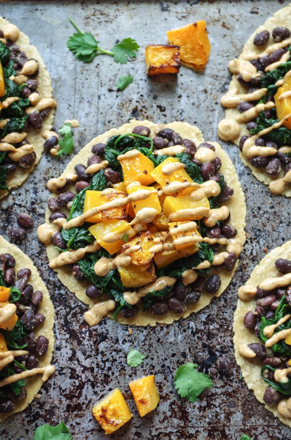 Butternut Squash Tacos on a Gray Backdrop