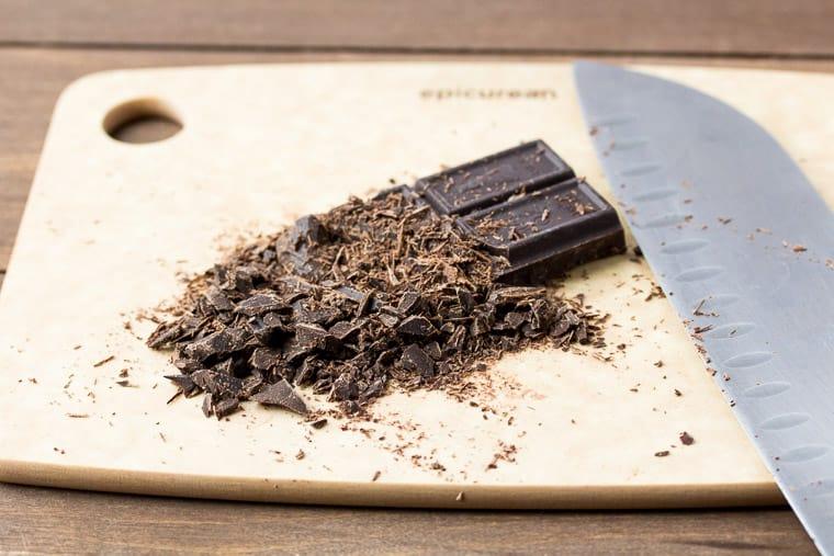 Cut Chocolate on the Epicurean Cutting Board