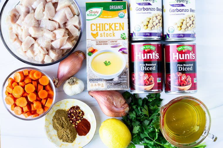 Ingredients needed to make Moroccan Chicken Stew