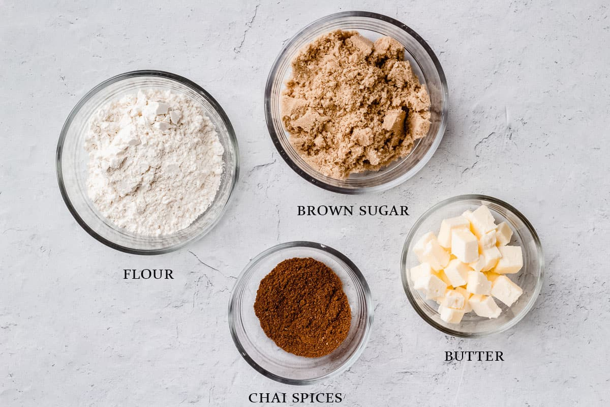 Ingredients for coffee cake crumb topping on a white background with labels
