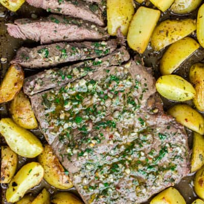 Chimichurri Steak and Potatoes on a Sheet Pan