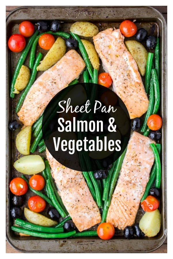 Sheet Pan Salmon and Vegetables - have this delicious salmon recipe on that table in under 30 minutes! Who doesn't love a good sheet pan recipe?! | #ad #dlbrecipes #sheetpanrecipe #sheetpandinner #salmon