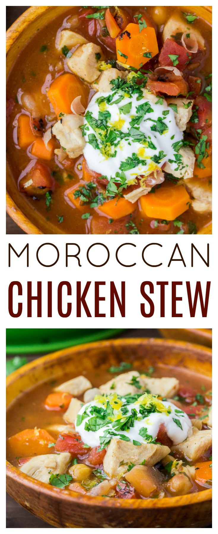 Moroccan Inspired Chicken Stew has a unique, delicious flavor! It's a hearty soup recipe that makes a delicious meal. Serve with a dollop of Greek yogurt and crusty bread for the ultimate comfort food meal! | #dlbrecipes #moroccanstew #souprecipe #comfortfood