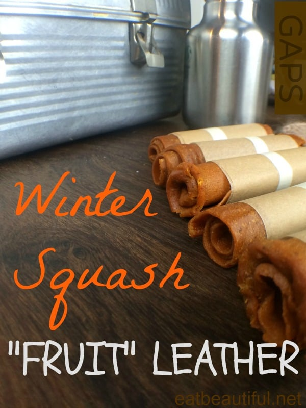 Butternut Squash Fruit Leather on a Wood Table