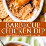 2 images of barbecue chicken dip with text overlay between them
