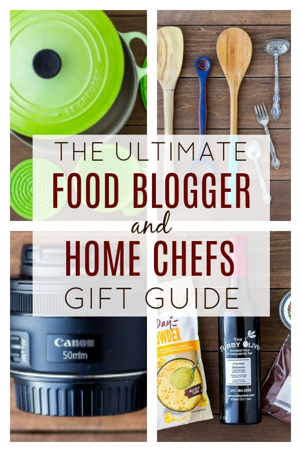Whether you are a food blogger yourself, or have a friend or family member who runs a food blog, this Food Blogger Gift Guide will give you plenty of gift ideas! The are also great gift ideas for home cooks and chefs! This is a list every food lover should check out! | #dlbrecipes #giftguide #foodgifts #cooking #baking