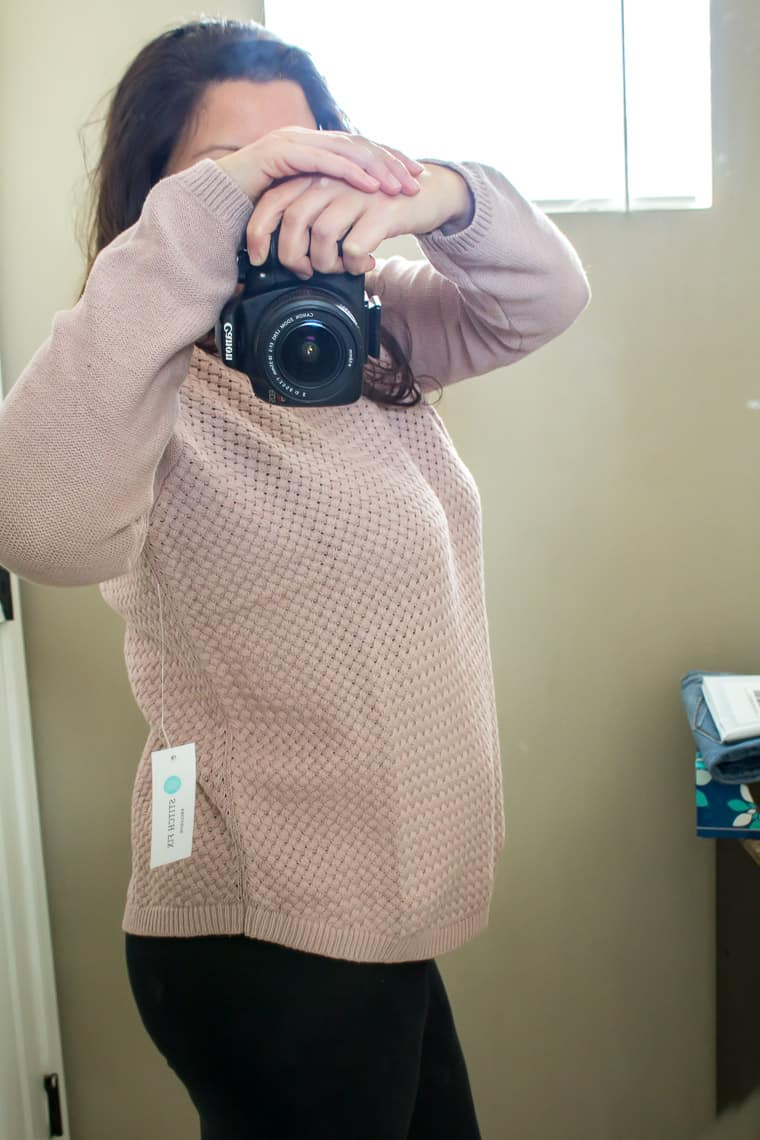 Stitch Fix August Mist Josey Textured Pullover On Side View