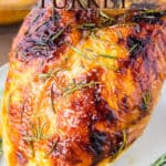A roasted turkey with text overlay