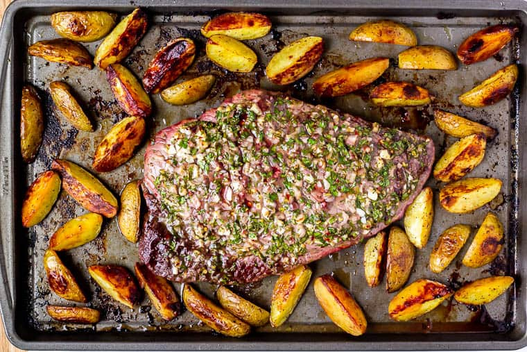Roasted steak and potatoes on a sheet pan