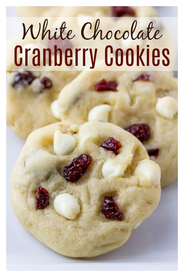 White Chocolate Cranberry Cookies - soft, chewy and loaded with white chocolate chips and cranberries. These cookies are a delicious dessert this holiday season! | #dlbrecipes #cookies #cranberries #whitechocolate #dessert