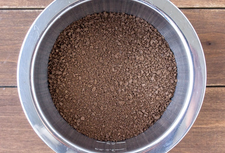 Chocolate Graham Cracker Crumbs in a Silver Bowl