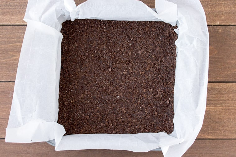 Chocolate Graham Cracker Crust in a Square Pan
