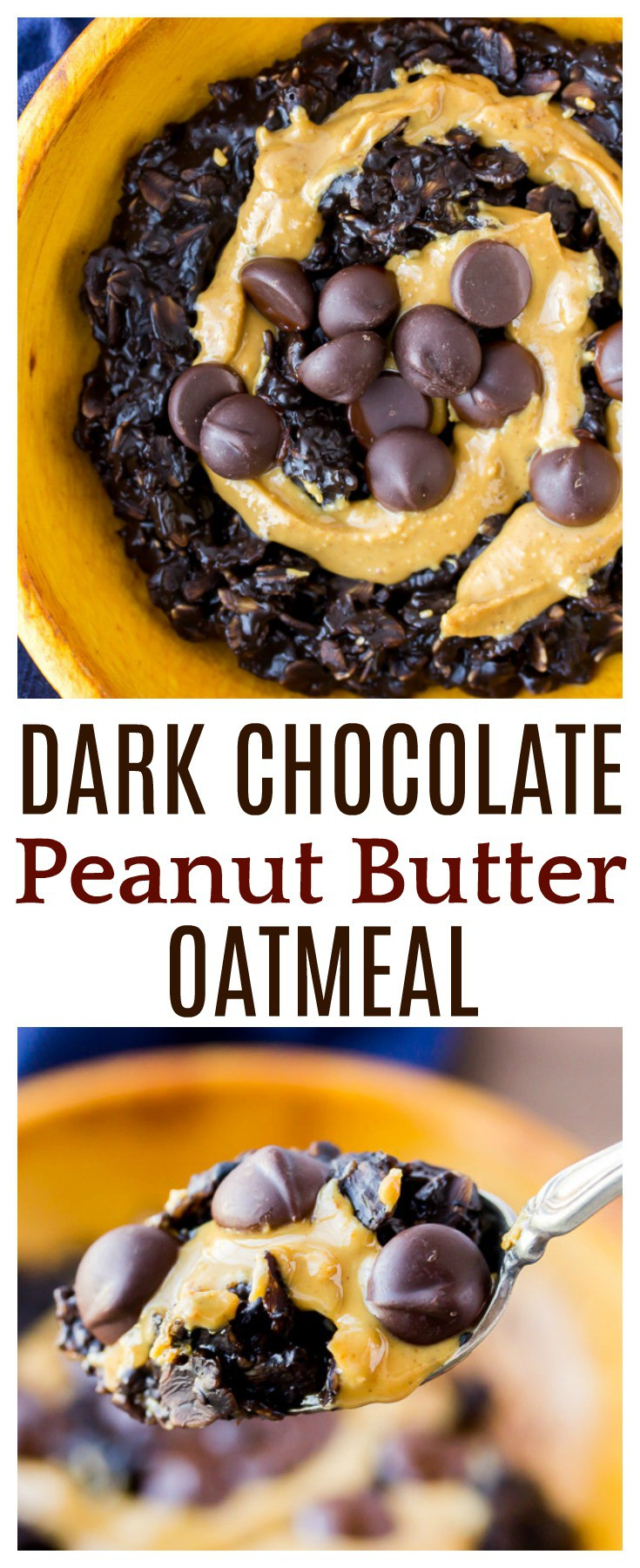 Dark Chocolate Peanut Butter Oatmeal is a simple breakfast recipe to start the day! Made with unsweetened almond milk, chia seeds, and maple syrup, it's actually a healthy option! There is no refined sugar and it can easily be made gluten free! | #oatmeal #breakfast