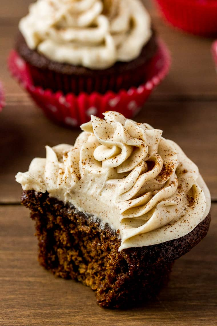 2 Gingerbread Cupcakes with a With a Bite Taken Out of one