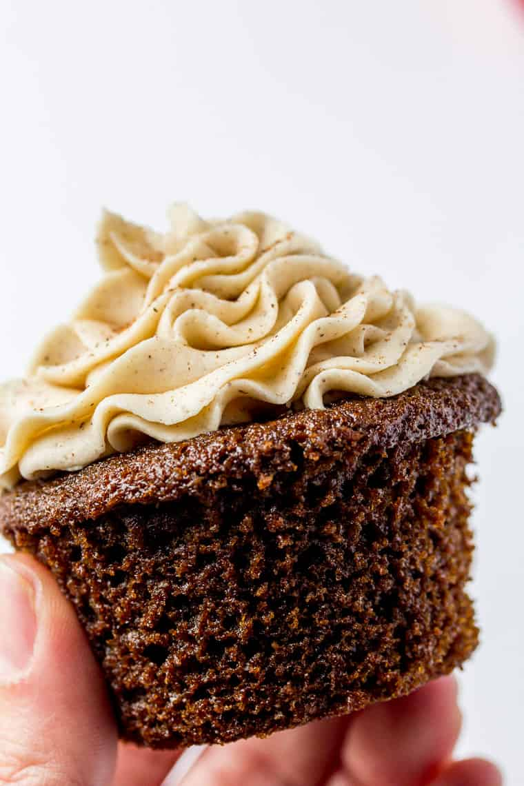 Gingerbread Cupcake with Cinnamon Vanilla Buttercream with a White Background