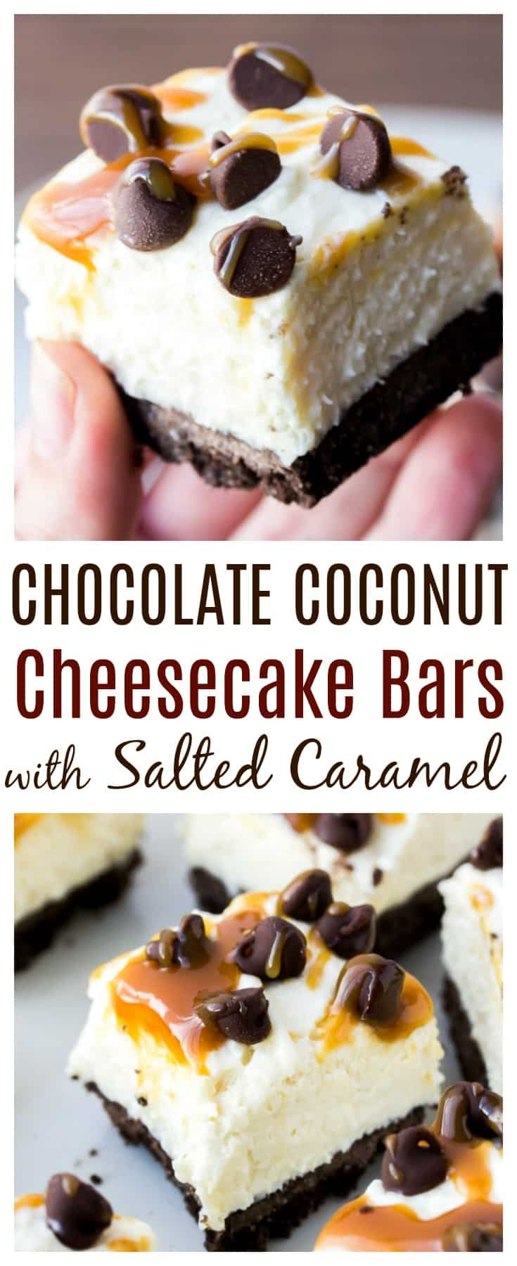 Coconut Cheesecake Bars are an easy-to-make decadent treat! Creamy no-bake coconut cheesecake sits on top of a chocolate graham cracker crust. Sprinkled with chocolate chips and drizzled with salted caramel sauce, these bars are simply delicious!