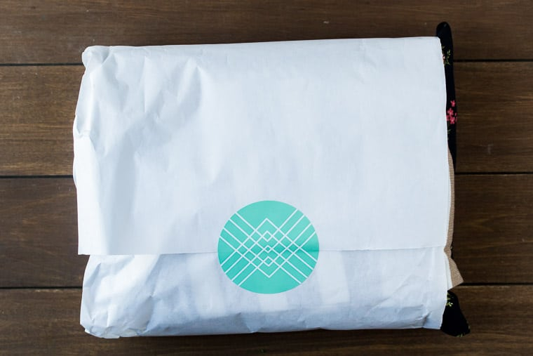 February 2019 Stitch Fix Review Package with White Tissue Paper taped shut with a green sticker