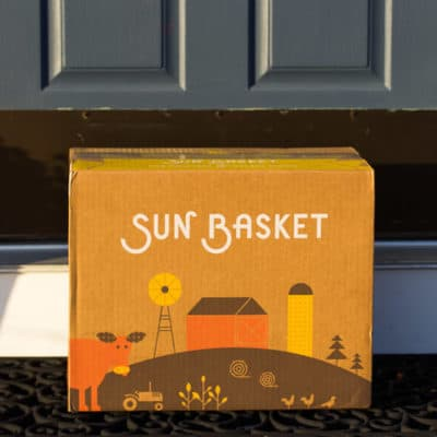 January 2019 Sun Basket Review Box by the Front Door