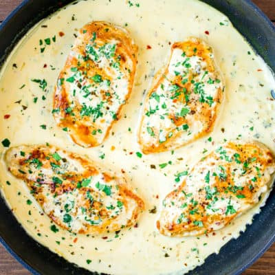 Creamy Cilantro Lime Chicken in a Skillet